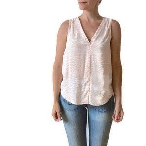 Light Pink & White Patterned Sleeveless Blouse
